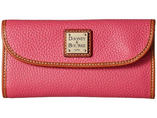 Dooney Bourke Pebble Continental Clutch Hot Pink w/ Tan Trim Clutch Handbags