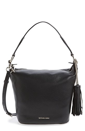 Michael Kors Medium Elana Convertible Leather Shoulder Bag – Black – 30T6SE3L2L-001