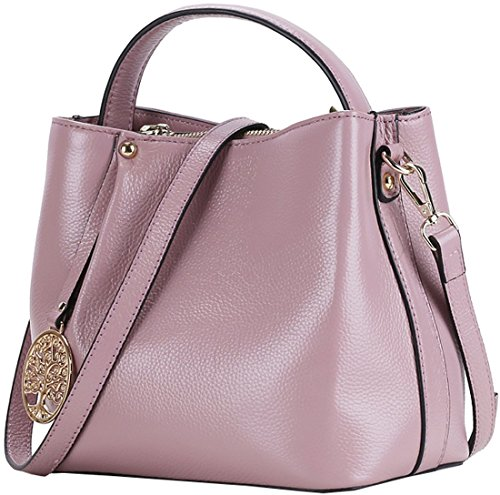 Iswee Women's Fashion Leather Bucket Bag Tote Shoulder Cross Body Bag