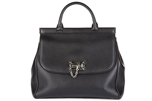 Dolce&Gabbana women's leather handbag shopping bag purse dauphine black