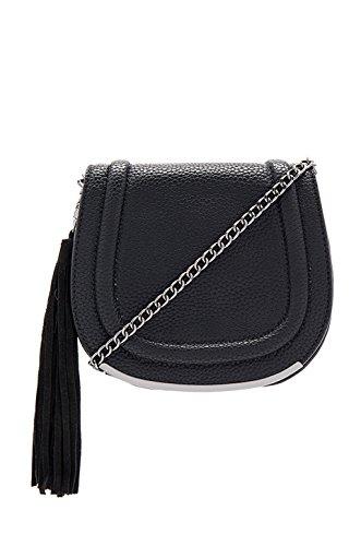 BCBGeneration ADM656GN Black Tassel Cross Body Saddle Bag
