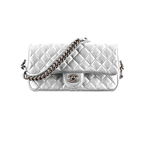 Authentic Chanel Classic Flap Bag Metallic Grained Calfskin Item A94000 Y60562 94306 Made in France