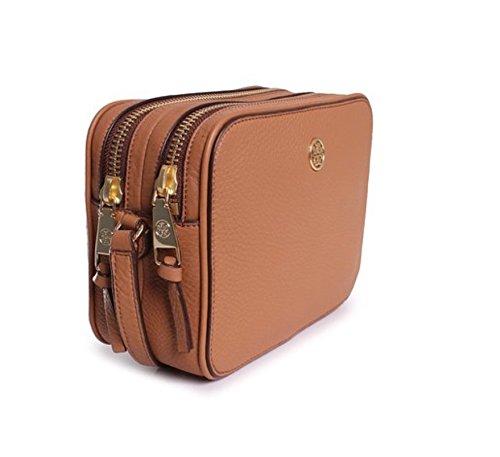 Tory Burch Robinson Double Zip Cross-body Tigers Eye Tan Leather Handbag