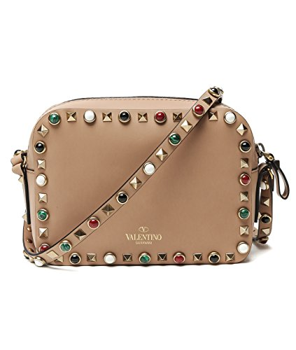 Wiberlux Valentino Women's Studded Zip-Top Real Leather Mini Crossbody Bag