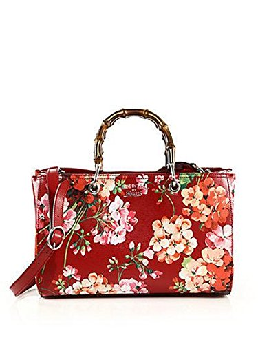 GUCCI Bamboo Shopper Blooms Leather Tote Bag Red