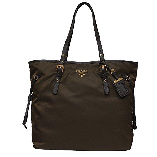 7d3c904c832316 Prada Large Tessuto Shopper Tote Bag. Prada Tessuto Saffian Brown Nylon  Leather ...