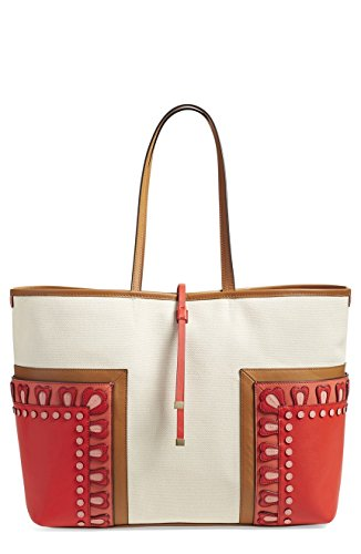 Tory Burch Block T Leather Canvas Applique Large Tote Natural Red Orange