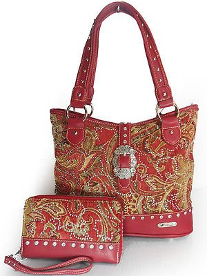 New Montana West Floral Paisley Tote w/ Mini Rhinestones + Wristlet Wallet- Red