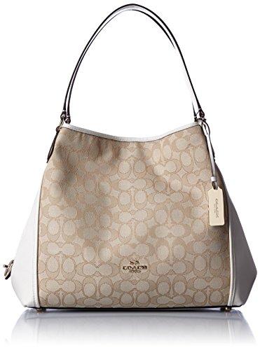 COACH Women's Signature Edie 31 Shoulder Bag LI/Light Khaki/Chalk Shoulder Bag