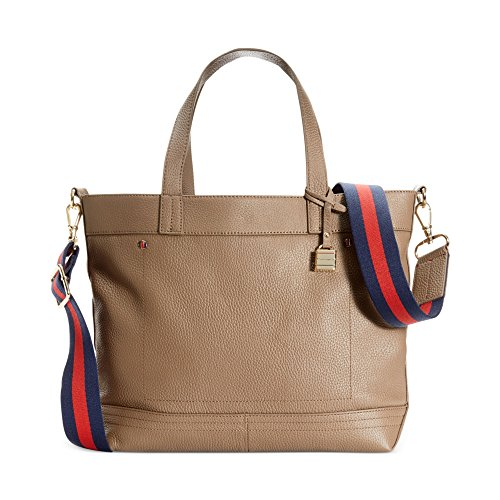 Tommy Hilfiger Signature Convertible Pebble Leather Travel Tote, Light Tan