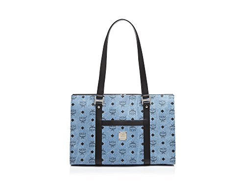 MCM Tote Bloomingdale's Exclusive Shopper Medium Blue Leather Bag Handbag New