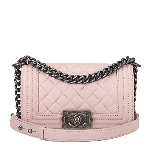 Chanel Light Pink Quilted Lambskin Small Boy Bag