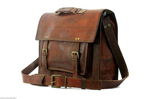 Gbag T 16Inch Vintage Handmade Leather Messenger Bag for Laptop Briefcase Satchel Bag 16X12X5 Inches Brown