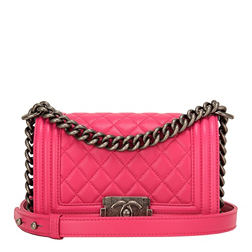 Chanel Fuchsia Pink Quilted Lambskin Small Boy Bag