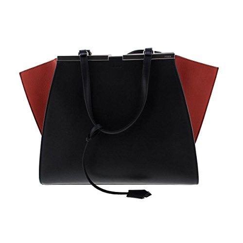 Fendi Womens 3Jours Leather Colorblock Satchel Handbag