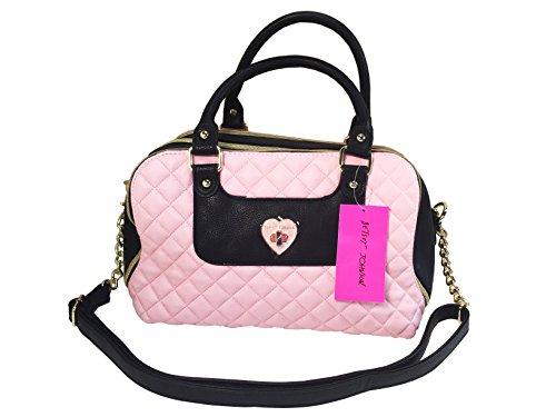 "Betsey Johnson Women's Quilted ""Heart Turn Lock"" Satchel Style Handbag"