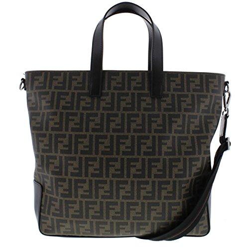 Fendi Womens Leather Trim Pattern Tote Handbag