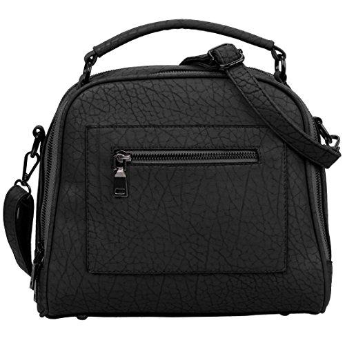 BMC Womens Textured Faux Leather Satchel Style Top Handle Shoulder Handbag