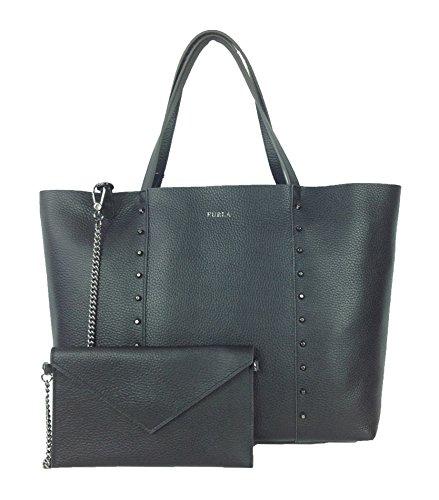 Furla Elle Rock Studded M Leather Tote Bag, Black