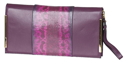 Salvatore Ferragamo Purple Leather Snakeskin Zip Around Pouch Clutch