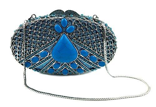 """Tikal"" Turquoise Diamond Studded Clutch Purse. Swarovski Crystals, 10″ chain, Hard Case, Leather-lined."