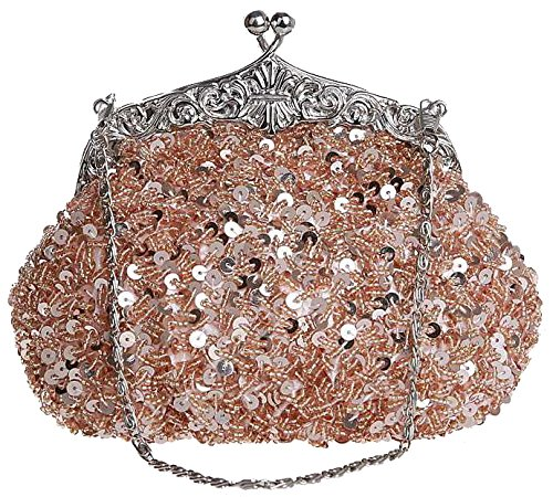 ILISHOP Women's Sequined Evening Clutch Party Wedding Handbag Purse (Champagne)