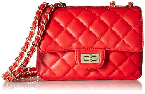 ILISHOP Women's Fashion Shoulder Bag Quilting Chain Cross Korean Ladies Handbag (Red)
