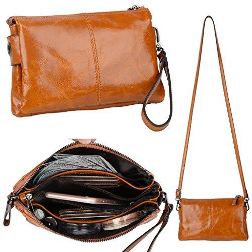 YALUXE Women's Large Capacity Multiple Pockets Wristlet Clutch Crossbody Bag