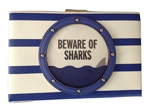 Kate Spade Emanuelle Clutch Beware of Sharks Blue Shoulder Handbag