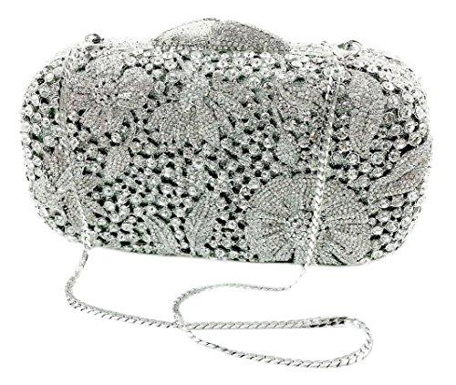 """Magnolia"" Diamond Studded Clutch Purse. Swarovski Crystals, 10″ chain, Hard Case, Leather Lined."