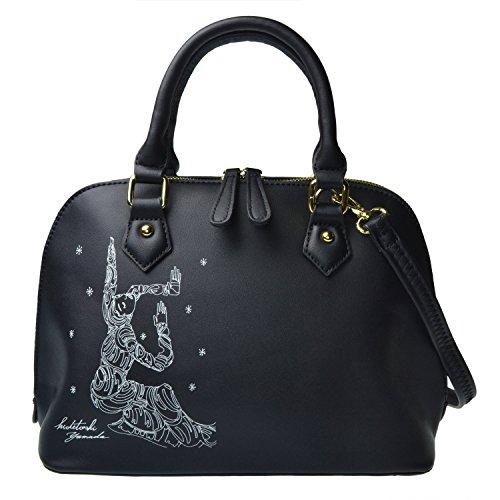 MG Collection® AKIKO Black Handbag Tote with Graphic Design by Hidetoshi Yamada