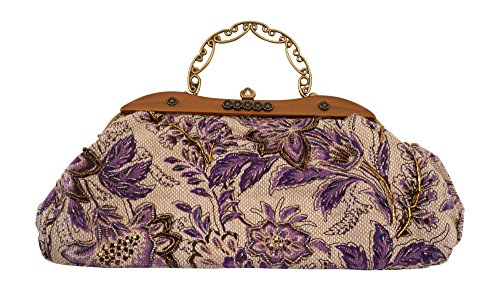 Beaded Tapestry Vintage Design Metal Frame Retro Evening Handbag Party Clutch