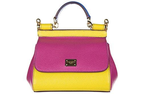 Dolce&Gabbana women's leather handbag shopping bag purse dauphine sicily fucsia