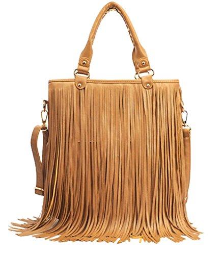 ILISHOP Hot Sale Women's Fashion Punk Tassel Fringe Tote Handbag Shoulder Cross Body Bag (Khaki)