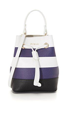 Furla Women's Stripe Stacy Mini Bucket Bag, Chalk/Navy, One Size