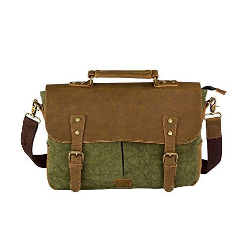 LUXUR Vintage Leather Messenger Bag Laptop Shoulder Satchel Daypack Fit 14 inch Laptop for Business/School/Travel