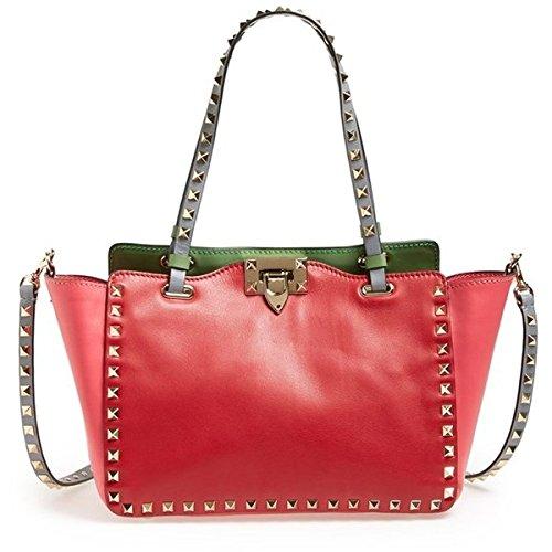 Valentino Mini Rockstud Italian Pop Leather Tote Red Green Grey Stud Bag