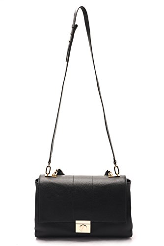 Versace Collections Women Pebbled Leather Top Handle Shoulder Handbag Black