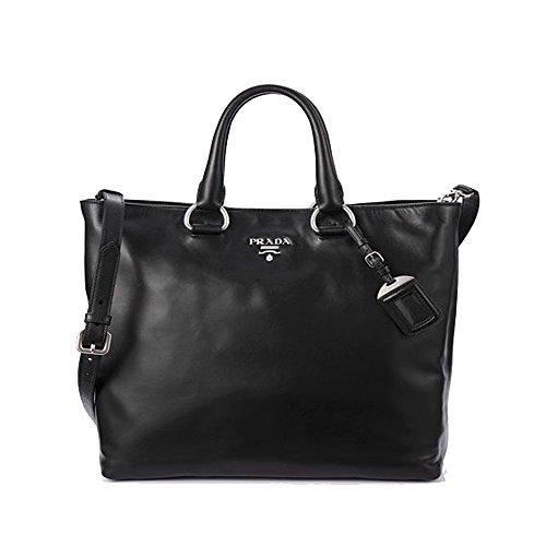 Prada Vit Vitello Daino Nero Black Leather Shopping Tote Handbag with Shoulder Strap BN2865