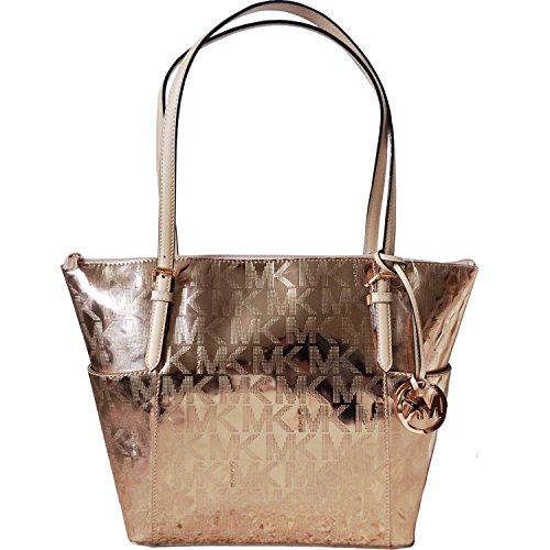 Michael Kors Jet Set East West Mirror Metallic Tote in Rose Gold