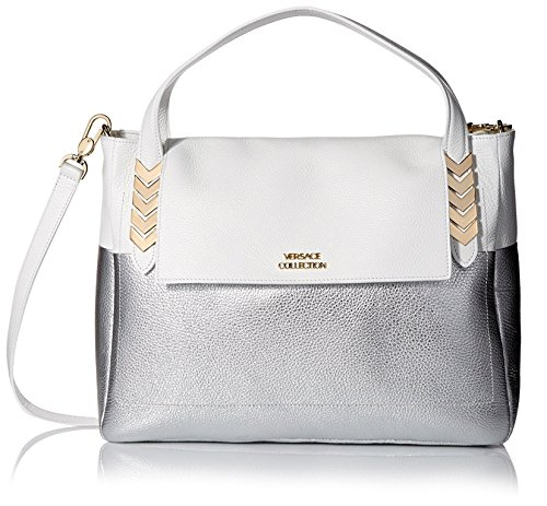 Versace Collection Women's Borsa Giorno Satchel, Bianco/Oro