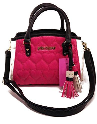 Betsey Johnson Shoulder Bag Handbag Satchel Heart Quilted with Tassels