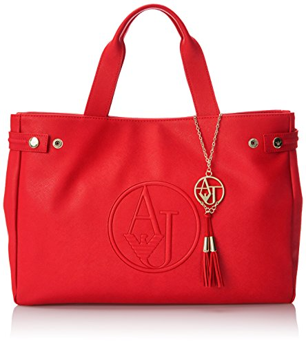 Armani Jeans Eco Saffiano East West Tote Shoulder Bag, Red, One Size