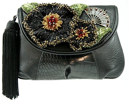 Mary Frances Empress Mini Beaded Jeweled Crystal Black Faux Leather W/Tassel Handbag