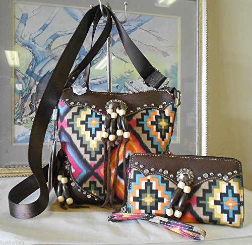 Montana West Concealed Carry Aztec Messenger Bag w/ Wristlet Wallet-Coffee