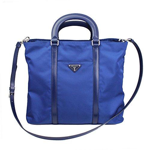 Prada Blue Tessuto Nylon Leather Shopping Tote Bag Shoulder Handbag 1BG057
