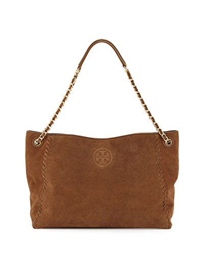 Tory Burch Marion Slouchy Suede Chain Tote Bag, River Rock