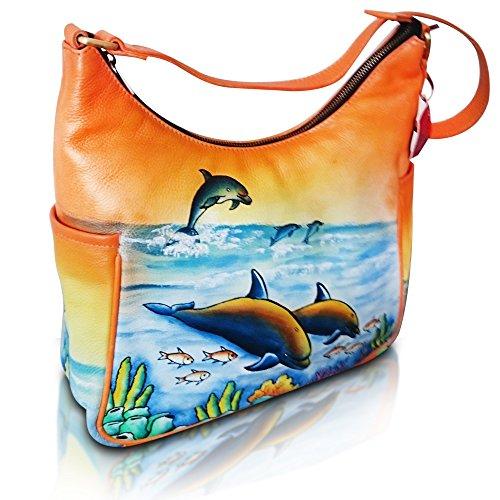Vintage Shoulder Handbag Soft Leather Quality Casual Tote Hand Painted Hobo Satchel Bag