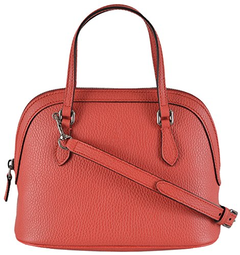 Gucci Women's Coral Red Textured Leather Convertible Mini Dome Purse