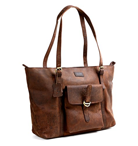 Cuero 16″ Brown Leather Women's Bag/handbag/purse/shopping Tote Bag